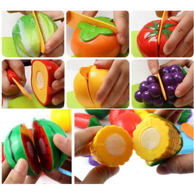 Kids Baby Pretend Role Play Kitchen Fruit Vegetable Toys Cutting Child Gift