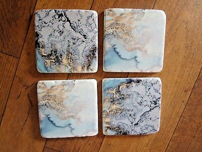 Set Of 4 Blue Watercolour Marble Resin Coasters 2 Different Designs - New!