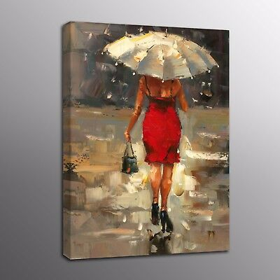 Canvas Prints Modern Abstract Oil Painting Red dress girl Poster Photo Wall Art