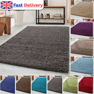 Modern Small X Large Plain Shaggy Soft Rug Bedroom Floor Rugs Thick Carpets New