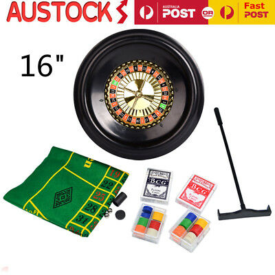 16'' Deluxe Roulette Wheel Casino Game Table  BlackJack Set with Accessories