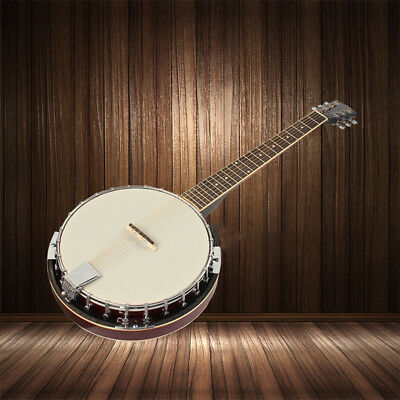6 String Banjo Chrome Plated Hardware Made Wood and Alloy Rosewood & Maple UKLQ