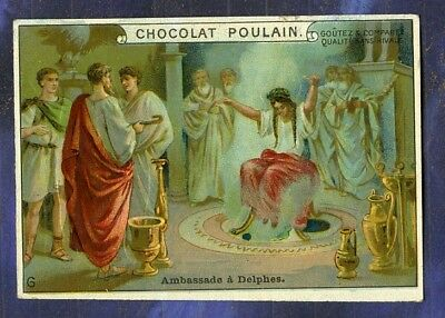 chromo Poulain relief Gaufré Pythie Delphes Soothsayer Tarquin Peste Trade card