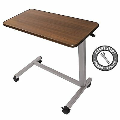 Medical Adjustable Overbed Bedside Table With Wheels hospital and Home Use