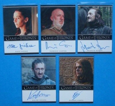 LOT **GAME Of THRONES**GoT Season 2 Auto/AutoGraph Cards DICKIE Simon INESON
