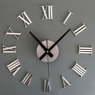 New DIY Silver Vintage Roman Numeral Number Frameless Wall Clock 3D Home Decor