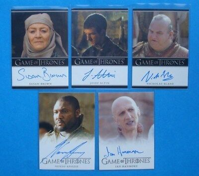 LOT **GAME Of THRONES**GoT Season 2 Auto/AutoGraph Cards BROWN Anozie ATLIN