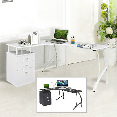 Computer Desk With 3 Drawers L Shape Corner Pc Table Home Office Furniture Study