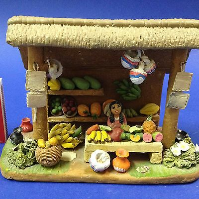 Miniature Model Tropical Fruit Stall - Hand Crafted & Painted -Intricate Detail