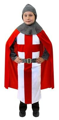 KIDS mediaeval CRUSADER KNIGHT FANCY DRESS COSTUME ST GEORGE TUNIC + RED CAPE