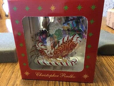 Christopher Radko Ornament Candy Ride Santa II Christmas Sleigh Gift NEW NIB