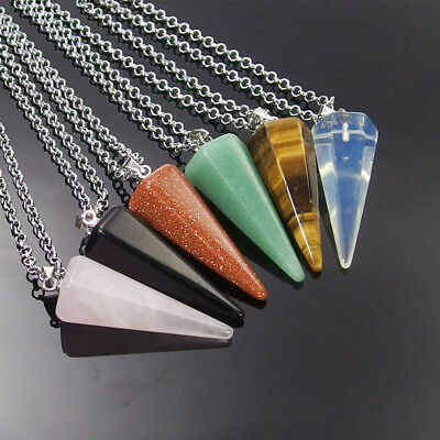 Natural Gemstone Cone Hexagonal Pointed Pendant Charm Beads Stone Necklace