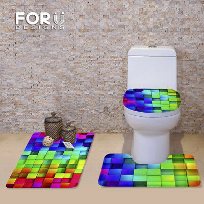Colorful Plaid Pattern 3 PC Toilet Lid Covers Bathroom Rugs Flannel Soft Carpets