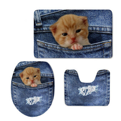 Jeans Cat Dog Print 3PC Toilet Pad Covers Shower Mat Flannel Bathroom Floor Rugs