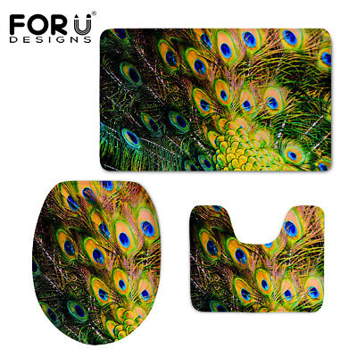 Peacock Feathers Soft Bathmat 3 PC Toilet Rugs Water Absorption Toilet Door Mat