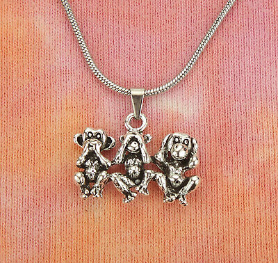 3 Three Wise Monkeys Necklace, See Hear Speak No Evil Proverb Charm Pendant Gift