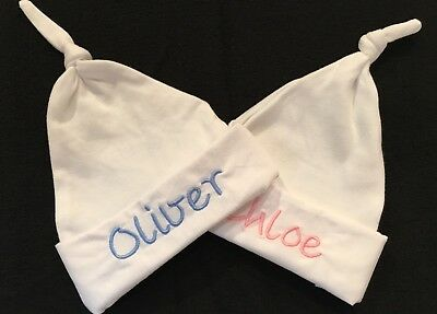 Personalised Embroidered Name Baby Knotted Hat Boy Girl New Newborn Hospital Set