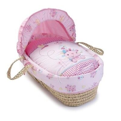 Clair De Lune Lottie & Squeek Pink Padded Palm Baby Moses Basket & Mattress New