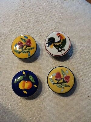 Lot Of 4 pcs Hand Painted Unique Cabinet Kitchen Drawer Pull Ceramic Knobs folk