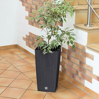 75 cm tall Durable Grey Plastic Square Rattan Outdoor/Indoor Plant/Flower Pot