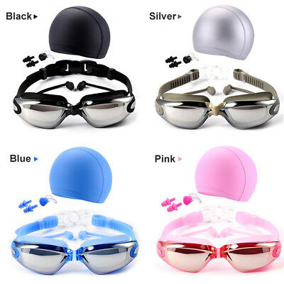 Men Women Swim Swimming Diving Waterproof Anti-Fog Goggle Glasses Hat Cap Set