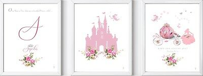 3 Personalised baby name child girl princess castle print picture gift nursery