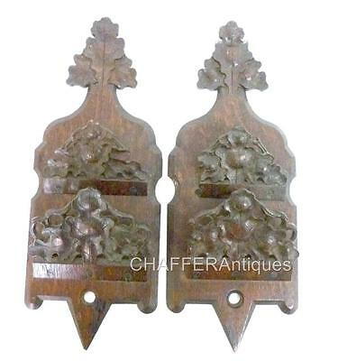 Pair of Hand carved Victorian Oak Wall Pockets/Letter Holders