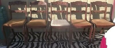 "5 Tell City Duncan Phyfe Chairs w/chair cushions;60"" Dining Table +(2)12"" Leaves"