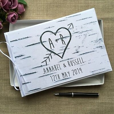 Personalised Wedding Guest Book ~ Rustic Birch Wood Bark Heart Arrow Carved