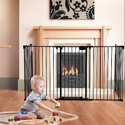 Child Stair Baby Safety Fireplace Gate Steel Fence Door Play Yard Pet Dog Cat