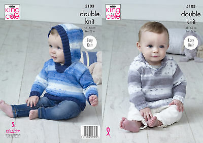 King Cole Baby Double Knitting Pattern Easy Knit Hooded or Collared Sweater 5103