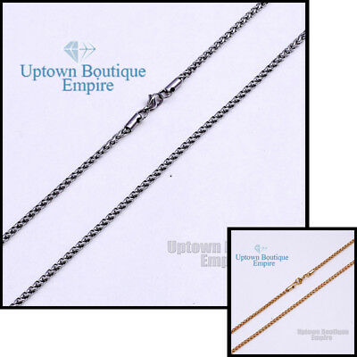 "18-36"" Silver Gold Stainless Steel 3.5 mm Chain Necklace for Men's Wheat Braided"