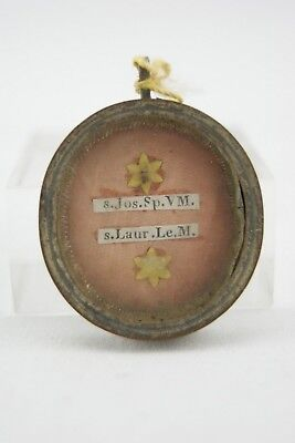 † 19Th Saint Joseph Husband + Saint Lawrence Reliquary 2 Relics Wax Seal Italy †