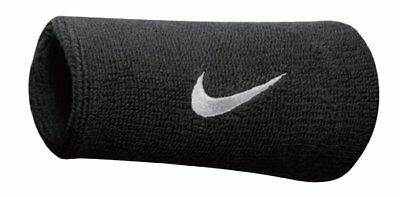 Nike Swoosh Wristbands Doublewide Double Wide 1 Pair 82816 Black & White
