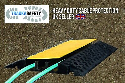 Super Heavy Duty 3 Channel Cable Protector Ramp Guard Rubber Top Hinged Hose