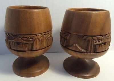 Two Vintage Hand Made, Hand Carved Wooden Cups.