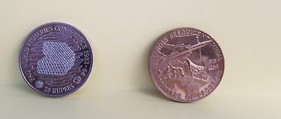 2 Coins Fao Seychelles 25 Rupees World Fisheries Seal Illinois Sesquicentenial