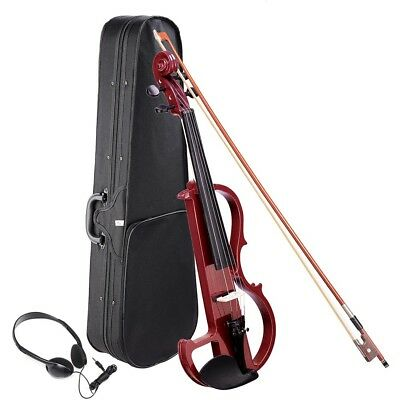 4/4 Full Size Electric Violin Wood Silent Fiddle Fittings Headphone Jujube Red