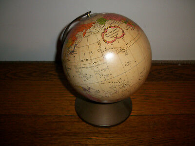 Vintage The Revere 6'' Globe By Repogle Tin Litho World Map