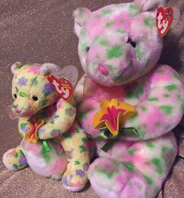 Rare NEW Ty Buddie and Beanie Set, Bloom, Pink, Yellow & Green Bears, MWMT