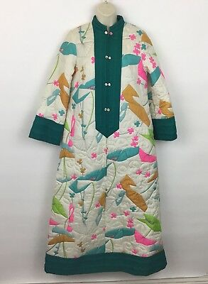 VTG Marguerite's quilted housecoat robe floral colorful zipper front Medium