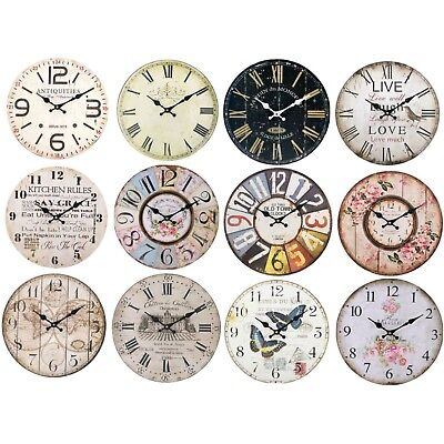 Large Rustic Wall Clock Wood Vintage Antique Style Shabby Chic Retro Design 34cm