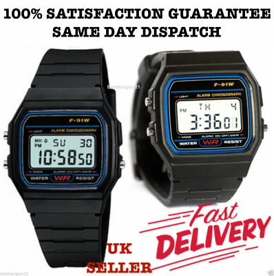 New Sports Alarm Stopwatch Wrist F91W Watch with Casio Resin LCD Digital Retro