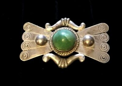 SALEVintage Heavy Mexican Sterling Silver Pin Brooch Old Mexico Jade Aztec Mayan