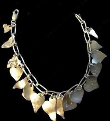 Vintage Sterling Silver Repousse Heart Charm Bracelet Puffy Valentine's Day Gift