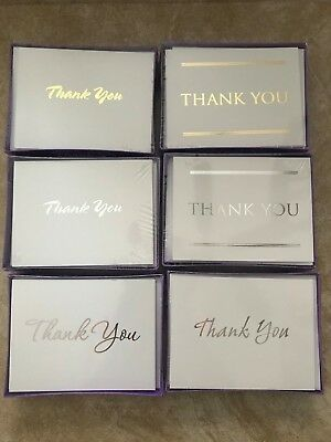 Box of 20 Blank Thank You Note Cards - Silver or Gold - 6 Designs -Your Choice