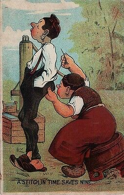 Vintage Postcard A Stitch In Time Used 1908