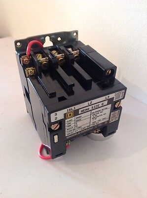 AC magnetic contactor, square d, 8502SBO2S, nema size0, 18A, 110v Coil