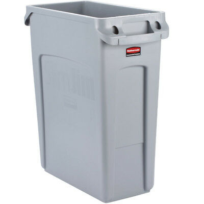 Rubbermaid Grey Slim Jim Container 60 Litre with venting channels Rubbish Bin