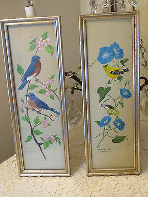 Adorable Pair Of Vintage Paintings Finch Blue Birds In A Tree Flowers Signed